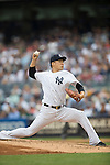Masahiro Tanaka (Yankees),<br /> JULY 9, 2015 - MLB :<br /> Masahiro Tanaka of the New York Yankees pitches during the Major League Baseball game against the Oakland Athletics at Yankee Stadium in the Bronx, New York, United States. (Photo by Thomas Anderson/AFLO) (JAPANESE NEWSPAPER OUT)