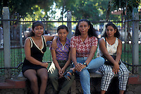 A goup of young Panamanian women in the city of David, Chiriqui province, Panama