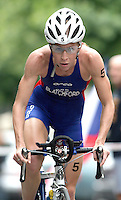 20 AUG 2005 - LAUSANNE, SWITZERLAND -  Liz Blatchford (GBR) - Elite Women -European Triathlon Championships. (PHOTO (C) NIGEL FARROW)