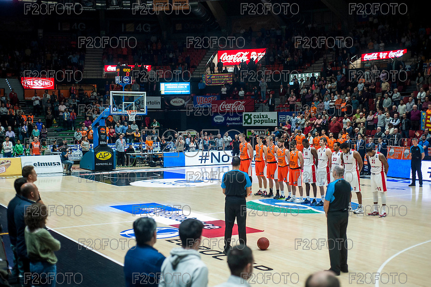 VALENCIA, SPAIN - NOVEMBER 18: Silence minut for Paris during EUROCUP match between Valencia Basket Club and CAI SLUC Nancy at Fonteta Stadium on November 18, 2015 in Valencia, Spain