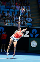 14th January 2019, Melbourne Park, Melbourne, Australia; Australian Open Tennis, day 1; <br /> Harriet Dart of Great Britain serve the ball in the match against Maria Sharapova of Russia