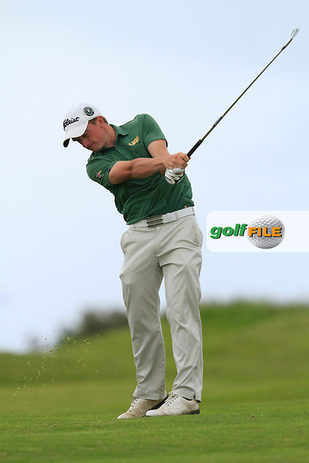 Paul Dunne (Greystones) on the 18th during Round 3 of the East of Ireland in the Co. Louth Golf Club at Baltray on Monday 2nd June 2014.<br /> Picture:  Thos Caffrey / www.golffile.ie