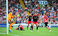 Lincoln City's Harry Toffolo scores his sides third goal<br /> <br /> Photographer Andrew Vaughan/CameraSport<br /> <br /> The EFL Sky Bet League Two - Lincoln City v Swindon Town - Saturday August 11th 2018 - Sincil Bank - Lincoln<br /> <br /> World Copyright &copy; 2018 CameraSport. All rights reserved. 43 Linden Ave. Countesthorpe. Leicester. England. LE8 5PG - Tel: +44 (0) 116 277 4147 - admin@camerasport.com - www.camerasport.com