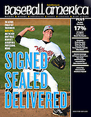 Baseball America August 6, 2013 Issue featuring an image of Tri-City ValleyCats starting pitcher Mark Appel #28 delivering a pitch during his first professional start against the Lowell Spinners on July 5, 2013 at Joseph L. Bruno Stadium in Troy, New York. (Mike Jane Photography)