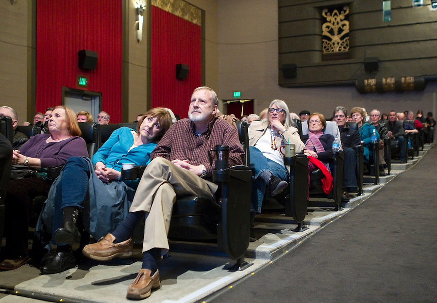 People attend public forum organized by those who oppose the oil transfer terminal at the Kiggins Theatre in Vancouver, Saturday March 1, 2014. The forum featured speakers who oppose the proposal to build a facility capable of handling as much as 38,000 barrels of crude per day.  The decision by Tesoro Corp. and Savage Companies to decline to attend a public forum at the has stirred controversy over their method of communicating with the public. (Natalie Behring/for the Columbian)