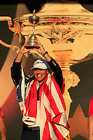 Brooks Koepka holding the Ryder Cup At the presentation after the Singles matches at the Ryder Cup, Hazeltine National Golf Club, Chaska, Minnesota, USA.  03/10/2016<br /> Picture: Golffile | Fran Caffrey<br /> <br /> <br /> All photo usage must carry mandatory copyright credit (&copy; Golffile | Fran Caffrey)