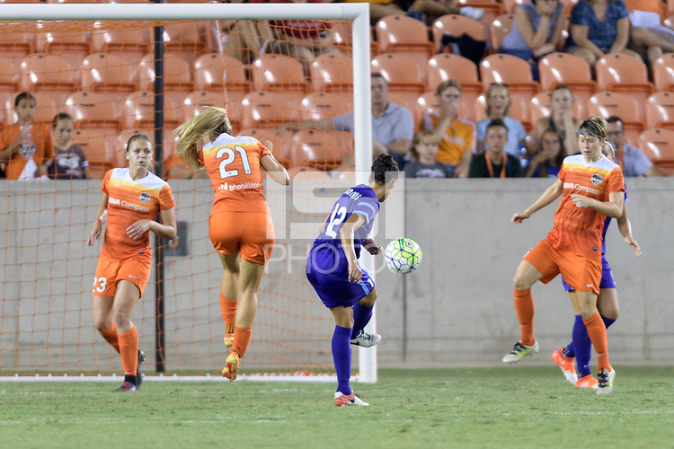 Houston, TX - Saturday Sept. 03, 2016: Melissa Henderson, Kristen Edmonds scores during a regular season National Women's Soccer League (NWSL) match between the Houston Dash and the Orlando Pride at BBVA Compass Stadium.