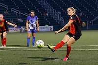 Rochester, NY - Friday May 27, 2016: Western New York Flash defender Abigail Dahlkemper (13) shoots and scores on a penalty kick. The Western New York Flash defeated the Boston Breakers 4-0 during a regular season National Women's Soccer League (NWSL) match at Sahlen's Stadium.