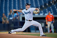 Tampa Tarpons starting pitcher Clarke Schmidt (32) during a Florida State League game against the St. Lucie Mets on April 10, 2019 at George M. Steinbrenner Field in Tampa, Florida.  St. Lucie defeated Tampa 4-3.  (Mike Janes/Four Seam Images)