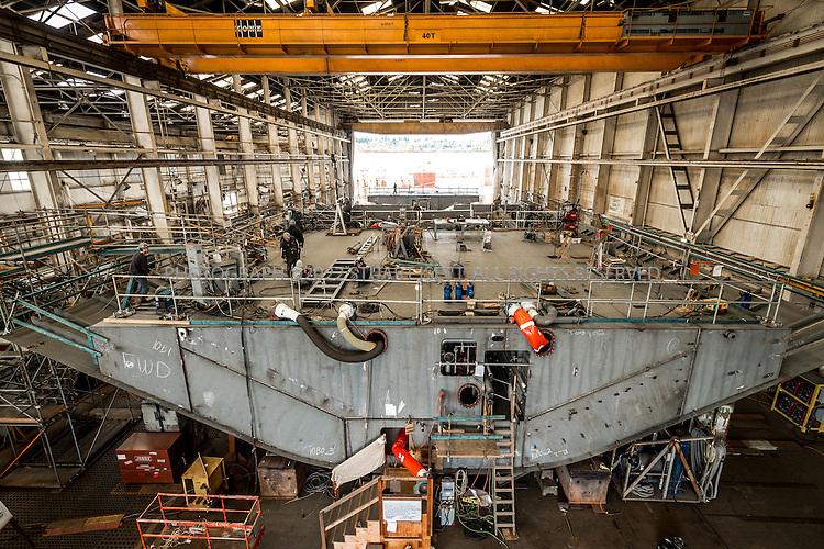 4/8/2015&mdash;Seattle, WA<br /> <br /> The M/V Chimacum, an Olympic Class (144-Car) ferry, under construction at Vigor Industrial shipyards in Seattle, WA. Construction on the $123 million ferry began in 2014 and delivery is expected in 2017. It&rsquo;s expected to go on the Bremerton-Seattle route.<br /> <br /> Photograph by Stuart Isett/Vigor Industrial<br /> &copy;2014 Stuart Isett. All rights reserved.