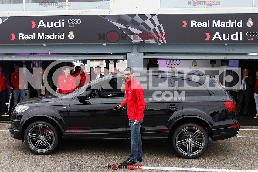 Real Madrid player Angel Di Maria participates and receives new Audi during the presentation of Real Madrid's new cars made by Audi at the Jarama racetrack on November 8, 2012 in Madrid, Spain.(ALTERPHOTOS/Harry S. Stamper) .<br /> &copy;NortePhoto