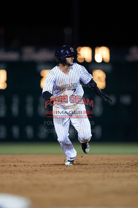 Lancaster JetHawks center fielder Forrest Wall (7) hustles to third base during a California League game against the Visalia Rawhide at The Hangar on May 17, 2018 in Lancaster, California. Lancaster defeated Visalia 11-9. (Zachary Lucy/Four Seam Images)