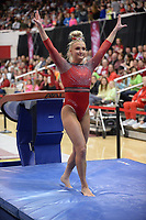 Arkansas' Sarah Shaffer competes Friday, Feb. 7, 2020, in the vault portion of the Razorbacks' meet with Georgia in Barnhill Arena in Fayetteville. Visit  nwaonline.com/gymbacks/ for a gallery from the meet.<br /> (NWA Democrat-Gazette/Andy Shupe)