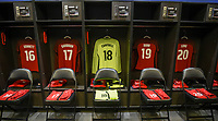 Columbus, Ohio - Thursday March 01, 2018: Emily Sonnett, Tierna Davidson, Jane Campbell, Crystal Dunn, Allie Long, USWNT locker room during a 2018 SheBelieves Cup match between the women's national teams of the United States (USA) and Germany (GER) at MAPFRE Stadium.