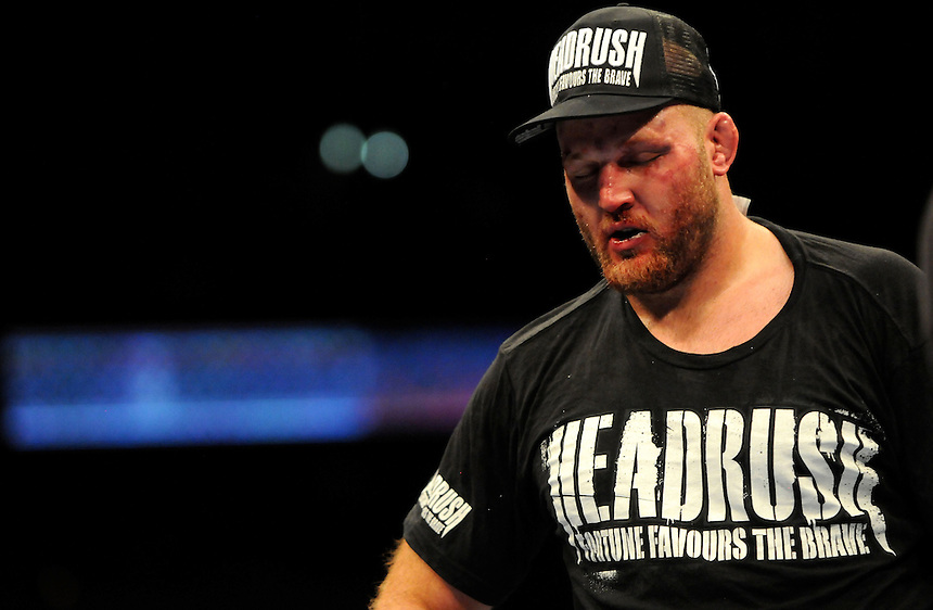 24 SEPTEMBER 2011:    Ben Rothwell after being beaten by Mark Hunt during UFC 135 at the Pepsi Center in Denver, Colorado. *****For Editorial Use Only*****