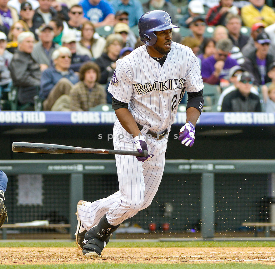Colorado Rockies Dexter Fowler (24) during a game against the Tampa Bay Rays on May 5, 2013 at Coors Field in Denver, CO. The Rays beat the Rockies 8-3..