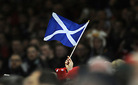 A Scottish flag is waved during the national anthems <br /> <br /> Photographer Ian Cook/CameraSport<br /> <br /> Under Armour Series Autumn Internationals - Wales v Scotland - Saturday 3rd November 2018 - Principality Stadium - Cardiff<br /> <br /> World Copyright © 2018 CameraSport. All rights reserved. 43 Linden Ave. Countesthorpe. Leicester. England. LE8 5PG - Tel: +44 (0) 116 277 4147 - admin@camerasport.com - www.camerasport.com