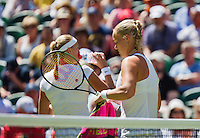 England, London, June 30, 2015, Tennis, Wimbledon, Kiki Bertens (NED) (R) passing Patra Kvitova (CZE) on a changeover<br /> Photo: Tennisimages/Henk Koster