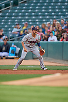 Kristopher Negron (1) of the Tacoma Rainiers on defense against the Salt Lake Bees at Smith's Ballpark on May 27, 2019 in Salt Lake City, Utah. The Bees defeated the Rainiers 5-0. (Stephen Smith/Four Seam Images)