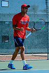 SURPRISE, AZ - MAY 12: Kiranpal Pannu of the Columbus State Cougars  reacts to winning a point against the Barry Buccaneers during the Division II Men's Tennis Championship held at the Surprise Tennis & Racquet Club on May 12, 2018 in Surprise, Arizona. (Photo by Jack Dempsey/NCAA Photos via Getty Images)