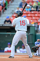 Pawtucket Red Sox shortstop Xander Bogaerts (15) during a game against the Buffalo Bisons on August 4, 2013 at Coca-Cola Field in Buffalo, New York.  Pawtucket defeated Buffalo 8-1.  (Mike Janes/Four Seam Images)