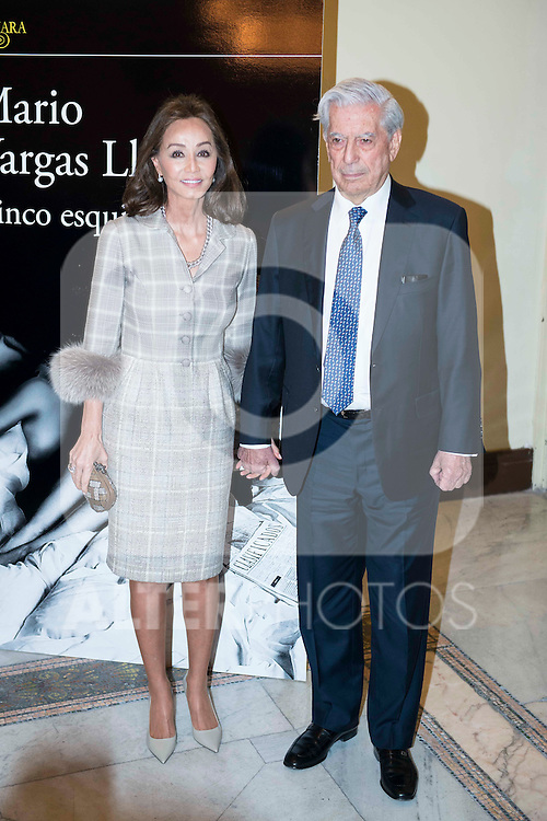 "Peruvian writer Mario Vargas Llosa with his girlfriend Isabel Preysler during the presentation of his last book ""Cinco Esquinas"" at CBA Madrid March 07, 2016. (ALTERPHOTOS/BorjaB.Hojas)"
