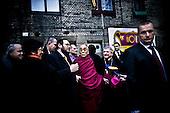 Wroclaw 09.12.2008 Poland<br /> His Holiness XIV Dalai Lama in front of synagogue.<br /> Continuing his tour of Poland, The Dalai Lama has visited discrit of the four temple in the south-western city of Wroclaw. At synagogue His Holiness has met with Wroclaw's head representatives of Judaism (left - rabbi Izaak Rapaport) and Catholicism (right - Edward Janiak). Tomorrow, the Dalai Lama will receive the honorary citizenship of Wroclaw, before going to Warsaw in the afternoon.<br /> Photo: Adam Lach / Napo Images<br /> <br /> Jego Swiatobliwosc XIV Dalajlama przed wroclawska synagoga.<br /> Kontynuujac swoja podroz po Polsce, Dalajlama odwiedzil dzielnice czterech swiatyn we Wroclawiu. Jego Swiatobliwosc spotkal sie z wroclawskimi przedstawicielami judaizmu (z lewej - rabin Izaak Rapaport) i katolicyzmu (z prawej - Edward Janiak). Nastepnego dnia Dalajlama zanim wybierze sie do Warszawy, otrzyma honorowe obywatelstwo Wroclawia.<br /> Fot. Adam Lach / Napo Images