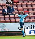 One fan responds to Forfar's Darren Dods' celebration in front of the Dunfermline fans.
