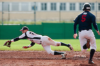 16 October 2010: Yann Dal Zotto of Savigny dives for the ball during Rouen 16-4 win over Savigny, during game 1 of the French championship finals, in Savigny sur Orge, France.