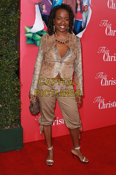"JEANNETTE BAYARDELLE.""This Christmas"" World Premiere held at the Cinerama Dome, Hollywood, California, USA..November 12th, 2007.full length brown beige cropped trousers jacket.CAP/ADM/CH.©Charles Harris/AdMedia/Capital Pictures."