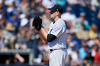New York Yankees starting pitcher James Paxton (65) looks in for the sign during a Grapefruit League Spring Training game against the Toronto Blue Jays on February 25, 2019 at George M. Steinbrenner Field in Tampa, Florida.  Yankees defeated the Blue Jays 3-0.  (Mike Janes/Four Seam Images)