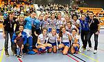 ROTTERDAM  - NK Zaalhockey . wedstrijd om brons  Den Bosch-Kampong. dames. Kampong met de bronzen medailles.       COPYRIGHT KOEN SUYK