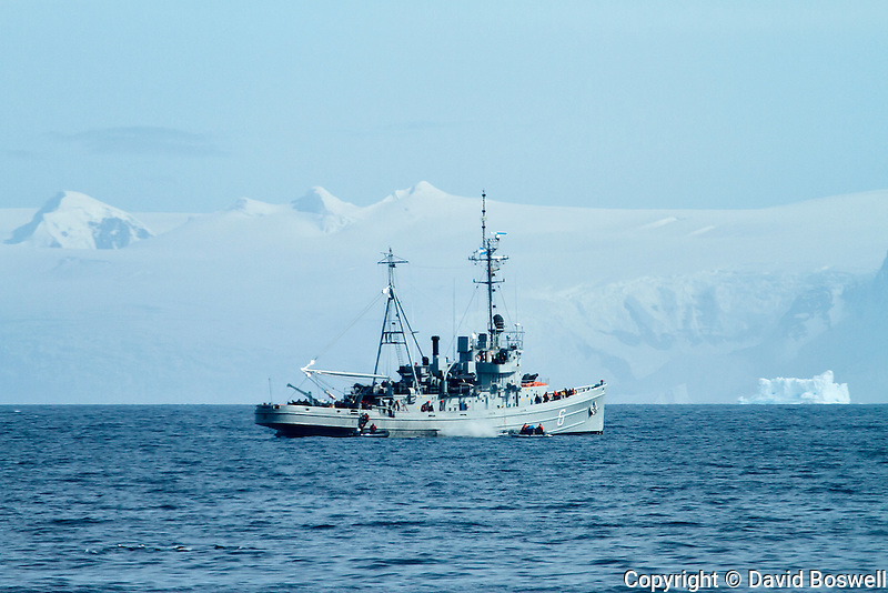 An Argentinian naval ship patrols near the Antarctic Peninsula.