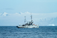 An Argentinian naval ship patrols near the Antarctic Peninsula.