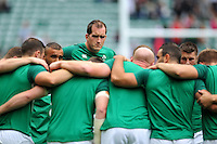 Devin Toner of Ireland looks on in a huddle during the pre-match warm-up. QBE International match between England and Ireland on September 5, 2015 at Twickenham Stadium in London, England. Photo by: Patrick Khachfe / Onside Images