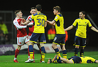 Tempers flare between Fleetwood Town's Ashley Hunter and Oxford United's John Mousinho after a foul on Cameron Brannagan<br /> <br /> Photographer Kevin Barnes/CameraSport<br /> <br /> The EFL Sky Bet League One - Oxford United v Fleetwood Town - Tuesday 10th April 2018 - Kassam Stadium - Oxford<br /> <br /> World Copyright &copy; 2018 CameraSport. All rights reserved. 43 Linden Ave. Countesthorpe. Leicester. England. LE8 5PG - Tel: +44 (0) 116 277 4147 - admin@camerasport.com - www.camerasport.com
