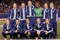 """The US Women's starting 11 pose for a photo before the game. The US Women's National Team tied the Denmark Women's National Team 1 to 1 during game 8 of the 10 game the """"Fan Celebration Tour"""" at Giant's Stadium, East Rutherford, NJ, on Wednesday, November 3, 2004.."""