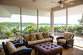 EXUMA, Bahamas. The sitting room of the Birdcage Villa at the Fowl Cay Resort.