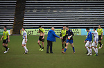 Home manager Jim Duffy shaking hands with his goalkeeper Derek Gaston on the pitch at the end of the game between Greenock Morton (in hoops) and Stranraer in a Scottish League One match at Cappielow Park, Greenock. The match was between the top two teams in Scotland's third tier, with Morton winning by two goals to nil. The attendance was 1,921, above average for Morton's games during the 2014-15 season so far.