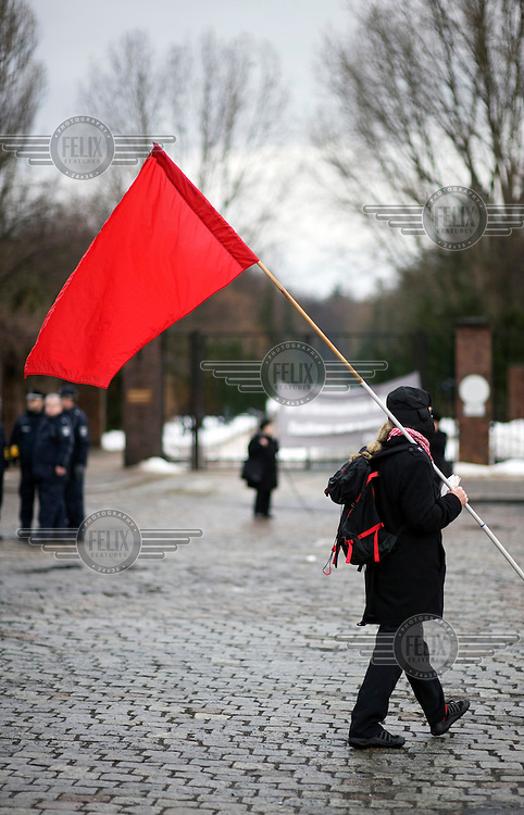 A supporter of the political party Die Linke (The Left) waves a red flag at a memorial event held for Rosa Luxemburg and Karl Liebknecht in the Friedrichsfelde Cemetery, where they are both buried..