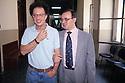 Gherardo Colombo e Piercamillo Davigo, Public Prosecutors at Courthouse in Milan, June 1993. © Carlo Cerchioli..Gherardo Colombo e Piercamillo Davigo, sostituti Procuratori della Repubblica, in un corridoio a Palazzo di Giustizia, Milano giugno 1993.