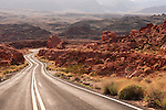 """Highway along the north side of Lake Mead..Note: """"No Parking"""" sign removed from center of the photo."""