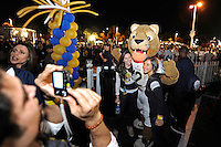 20 December 2011:  FIU fans have their picture taken with Roary prior to the game.  The Marshall University Thundering Herd defeated the FIU Golden Panthers, 20-10, to win the Beef 'O'Brady's St. Petersburg Bowl at Tropicana Field in St. Petersburg, Florida.