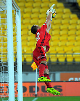 Victory keeper Lawrence Thomas makes a save during the A-League football match between Wellington Phoenix and Melbourne Victory at Westpac Stadium in Wellington, New Zealand on Friday, 10 January 2018. Photo: Dave Lintott / lintottphoto.co.nz