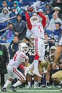 Annapolis, MD - OCT 8, 2016: Houston Cougars safety Garrett Davis (1) almost brings in an interception during game between Houston and Navy at Navy-Marine Corps Memorial Stadium Annapolis, MD. The Midshipmen upset #6 Houston 46-40. (Photo by Phil Peters/Media Images International)
