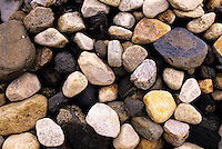 ROCKS ALONG SEASHORE<br /> Coastal erosion is present at the shoreline, as the stones have been made smooth over time by erosion from water and other sediments.