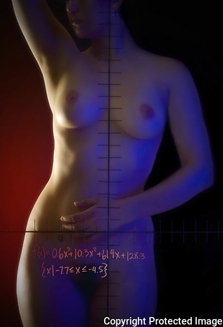 Light and an algebraic equation show off a model's figure.