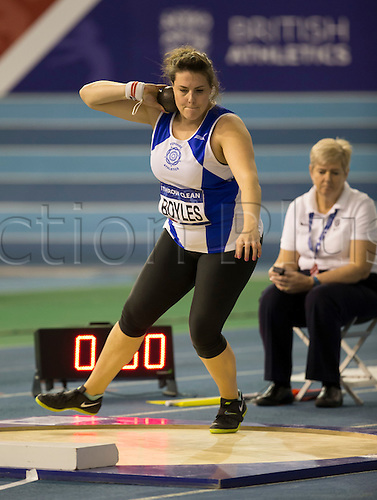 27.02.2016. EIS Sheffield, Sheffield, England. British Indoor Athletics Championships Day One. Sarah Boyles performs a rotational shot put during the Shot Put Final.