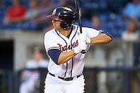 Mississippi Braves first baseman Seth Loman (22) at bat during a game against the Pensacola Blue Wahoos on May 27, 2015 at Trustmark Park in Pearl, Mississippi.  Pensacola defeated Mississippi 7-5 in fourteen innings.  (Mike Janes/Four Seam Images)