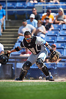 Hartford Yard Goats catcher Jan Vazquez (6) looks for the ball after blocking a pitch in the dirt during a game against the Binghamton Rumble Ponies on July 9, 2017 at NYSEG Stadium in Binghamton, New York.  Hartford defeated Binghamton 7-3.  (Mike Janes/Four Seam Images)